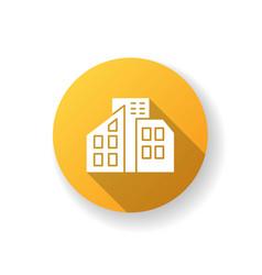 Smart city yellow flat design long shadow glyph vector