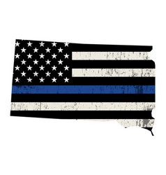 state south dakota police support flag vector image