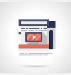 storefront with video ads flat color icon vector image