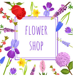 summer floral greeting card or flower shop banner vector image