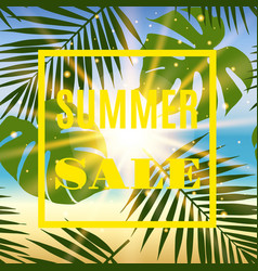 Summer sale banner with palms and sun vector