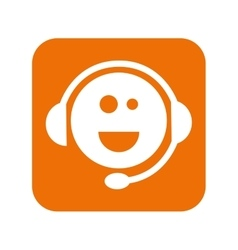 Support headset face smiling vector
