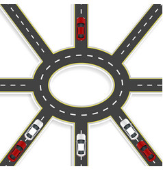 Top view of 3d perspective road interchange of vector