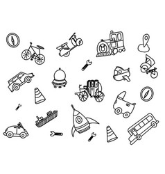 Transportation doodle with outline black and vector