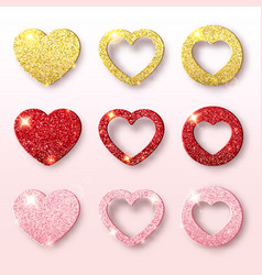 valentines day holiday collection set glitter vector image