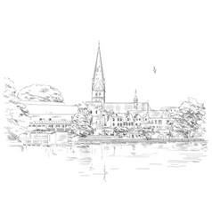 View on church of st mary in lubeck vector