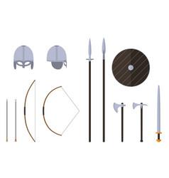viking weapons and armors set viking warrior vector image