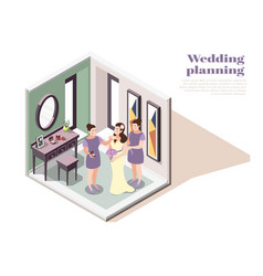 wedding planning isometric poster vector image