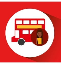 Woman cartoon traveler london red bus icon vector