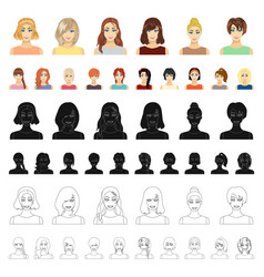 Women s clothing cartoon icons in set collection vector