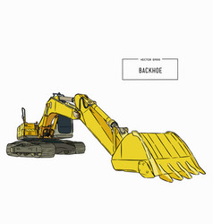 Yellow backhoe loader sketch vector