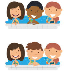 young multiracial teens relaxing and drinking vector image