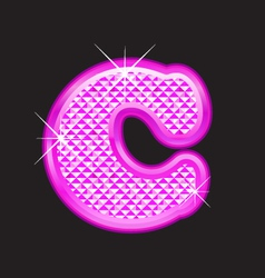 C letter pink bling vector image