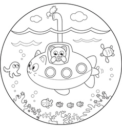 Coloring submarine under water vector image