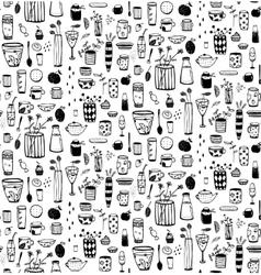 Dishware Doodles Black on White Sketchy Naive vector image vector image