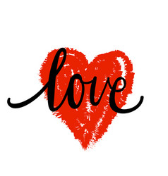 lettering the word love in the shape of the heart vector image vector image