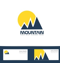 Mountain sun blue yellow logo vector image vector image