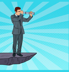 pop art businessman with telescope vector image vector image