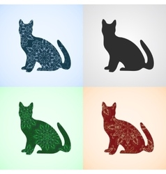 Set from Cat with Mandala Patterns vector image vector image