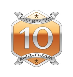 Ten years anniversary celebration silver logo with vector