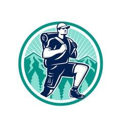 Hiker hiking mountain retro vector