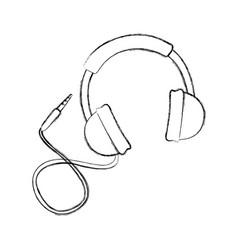 sketch draw headphones cartoon vector image vector image