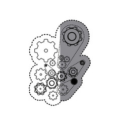 sticker silhouette set gear wheel icons vector image vector image