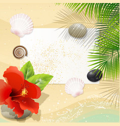 Tropical beach with red hibiscus vector