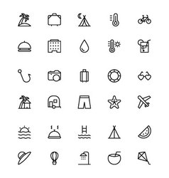 Holiday line icons 1 vector