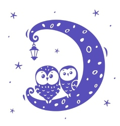 Owls on the moon vector image vector image
