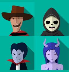 set of people in halloween costume portrait vector image vector image