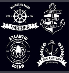 set of sea and nautical decorations isolated on vector image vector image