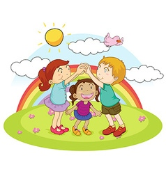 Three kids playing game in the park vector image