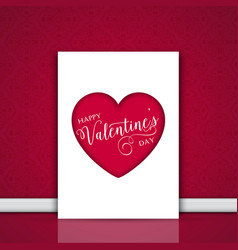 valentines day card leaning against a wall vector image vector image