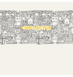 Construction Line Art Seamless Web Banner vector image