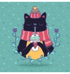 cute cartoon Merry Christmas card with cat vector image vector image