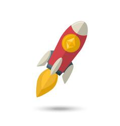 ethereum chrystal on a rocket vector image