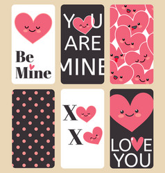 happy valentines day greating card set i love you vector image