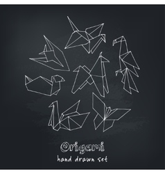 Origami hand drawn doodle set vector