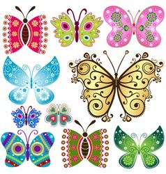 Set fantasy colorful vintage butterflies vector image vector image