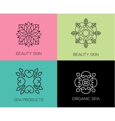 Set of abstract lineart linear simple design vector image vector image