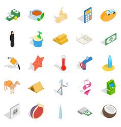 Uae icons set isometric style vector