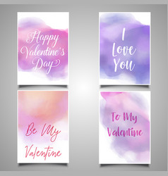 valentines day cards with watercolor designs vector image