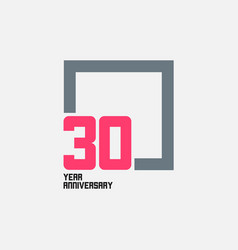 30 year anniversary square template design vector