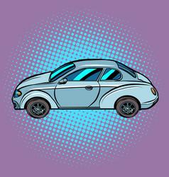 A passenger car on pop art background vector
