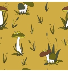 Abstract seamless pattern with mushrooms vector
