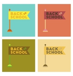 Assembly flat icons back to school flag vector