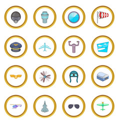 aviation icons circle vector image