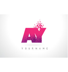 Ay a y letter logo with pink purple color vector