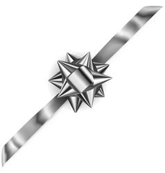 Beautiful silver shiny bow vector